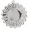 Filigree Pendant Setting 33mm Imitation Rhodium